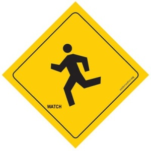 Running is fun for everyone, even little sign guys.