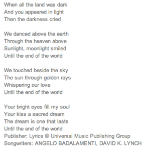 "Lyrics for the song, ""Until the End of the World"" (screengrab, Pandora)"