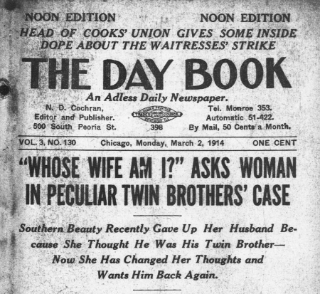 Detail from front page of The Day Book for 3/2/1914