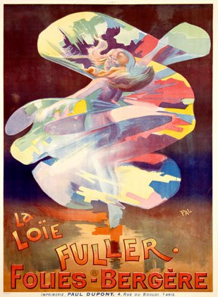 A Jean de Paléologue poster for Loïe Fuller at the Folies Bergère in 1902 (Wikipedia, public domain)