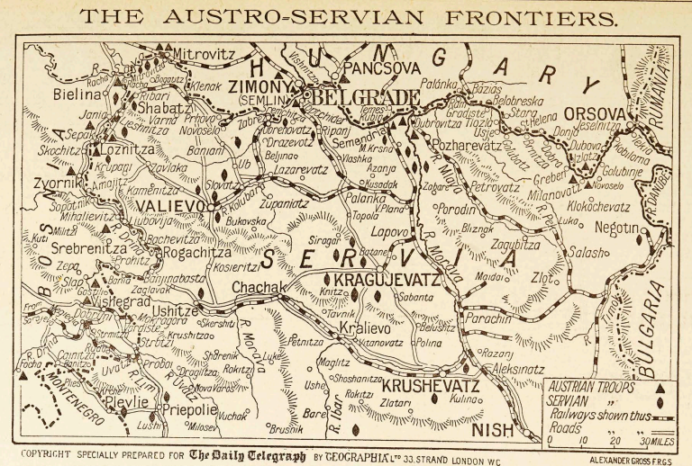 Map from the London (UK) Daily Telegraph, pubbed 7/31/1914