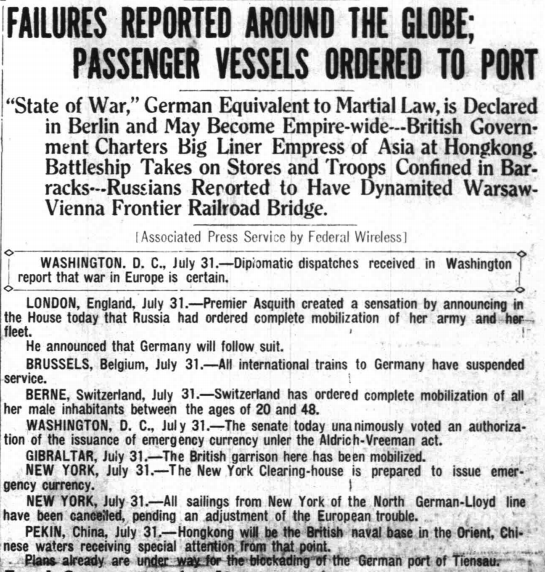 Detail from the Honolulu Star-Bulletin, 7/31/1914