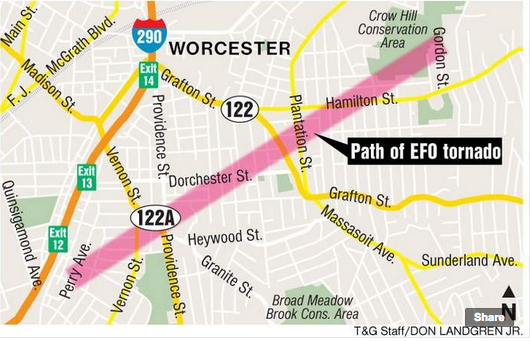 Map of the 8/31/2014 storm path (Worcester T&G)