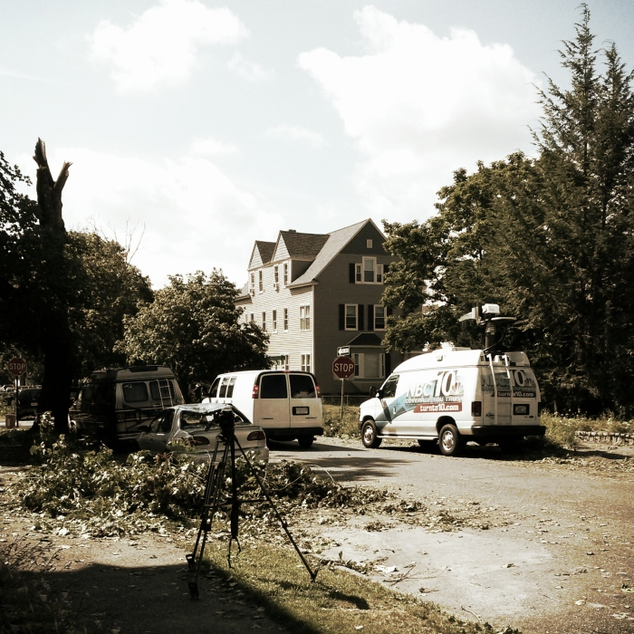 Pilgrim St. in Worcester, the Boston NBC affiliate news van.