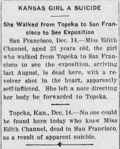 Independence Kansas Daily Reporter, 12/14/1915.